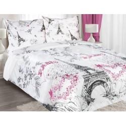 Pościel Bawełniana Paris biało różowa EUROFIRANY rozmiar 220x200 cm